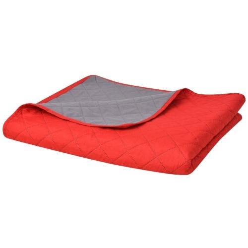 Copriletto a travertino a due lati Rosso e Grigio 170x210 cm