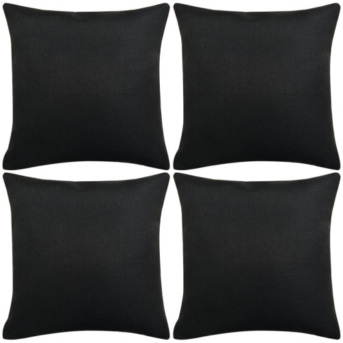 Cuscino  Coperture 4 pezzi Lino-look nero 50x50 cm