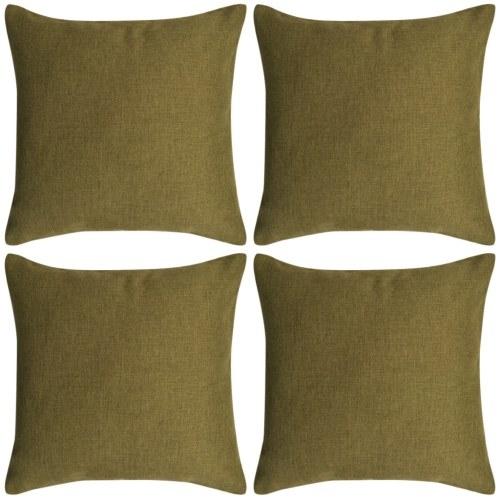 Cuscino  Coperture 4 pezzi Lino-look verde 40x40 cm