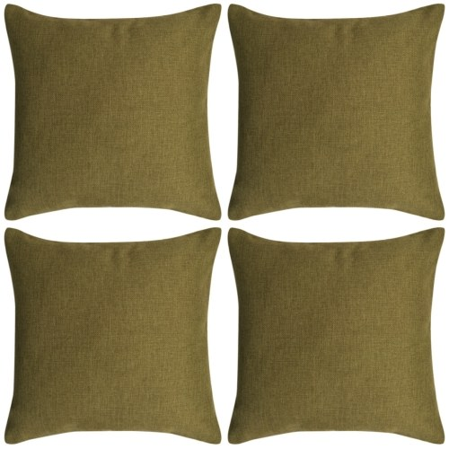 Cushion Covers 4 pcs Linen-look Green 50x50 cm