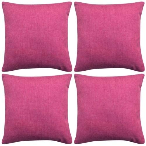 Cushion Covers 4 pcs Linen-look Pink 40x40 cm