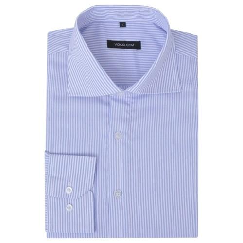 メンズビジネスシャツホワイト&ライトブルーストライプサイズL