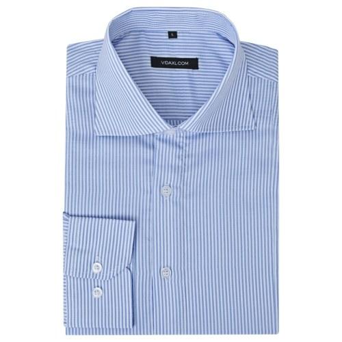 Uomo Camicia da Donna Bianco e Blu Stripe Taglia M