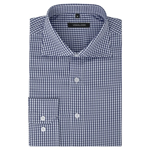 メンズビジネスシャツホワイト&ネイビーチェックサイズXL