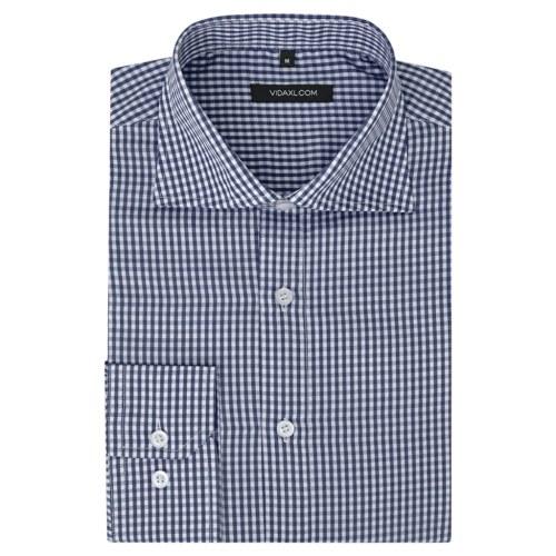 メンズビジネスシャツホワイトとネイビーチェックサイズXXL