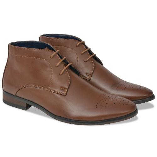 Мужские кружевные ботинки для лодыжки Коричневый размер 41 Кожа PU