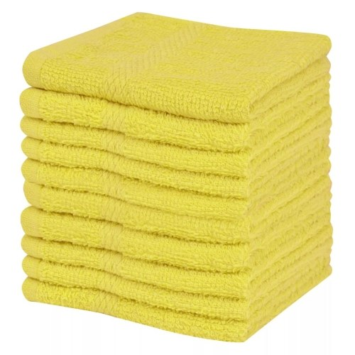 Gästehandtücher 10 Stück 100% Baumwolle 360 g / m² 30x30 cm Gelb