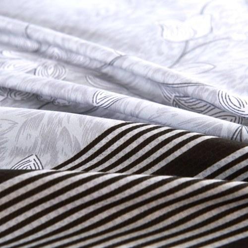 Набор для двухслойной обложки из двух частей Полосатая цветочная печать 155x200 / 80x80 см