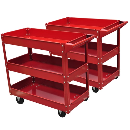 2 x Workshop Tool Trolley 100 kg 3 Shelves