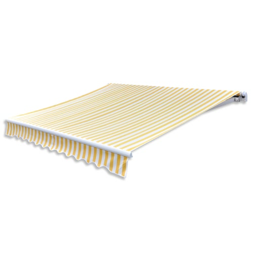 Awning Top Sunshade Canvas Yellow & White 3x2,5m (Frame Not Included)