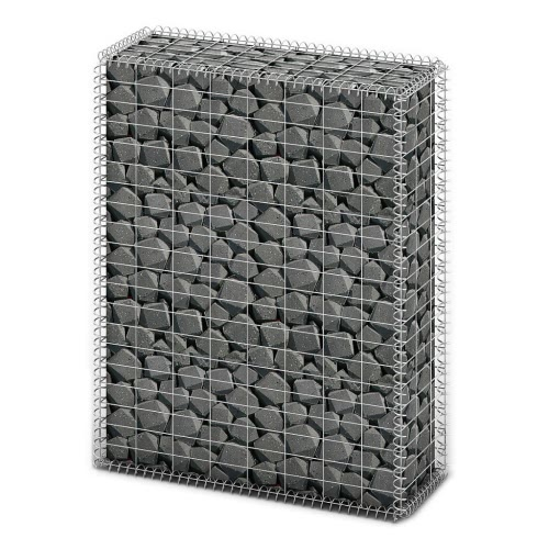 Gabion Basket Wall with Lids Galvanized Wire 100 x 80 x 30 cm
