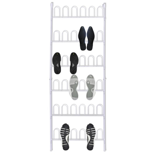 White Steel Shoe Rack for 18 Pairs of Shoes