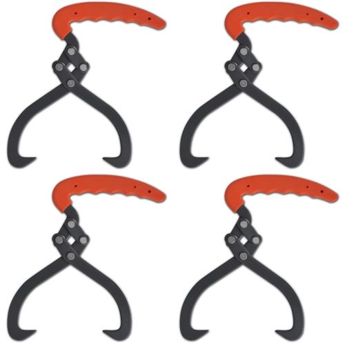 4 pcs Log Tongs com punho de PVC
