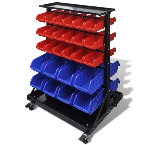 Blue & Red Garage Tool Organiser with Castors