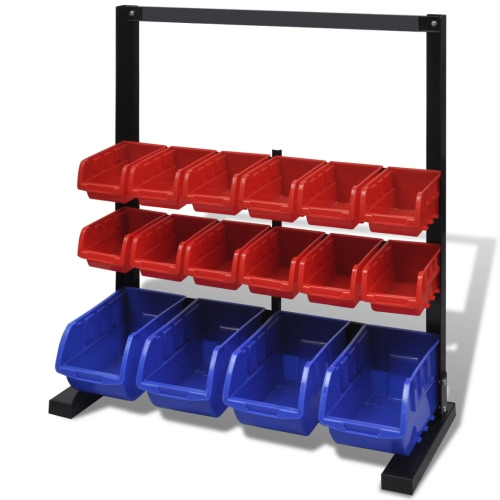 Blue & Red Garage Tool Organiser with Magnet Strip