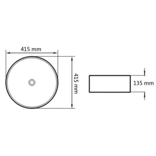 Раковина круглого цвета Керамическая белая 41,5x13,5 см