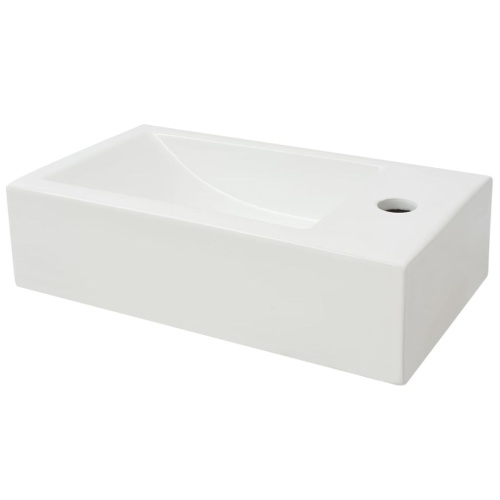 Бассейн с отверстием для смесителя Прямоугольный керамический белый 46x25,5x12 см