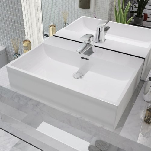 Бассейн с отверстием для раковины Керамический белый 60,5x42,5x14,5 см