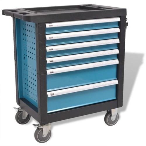 Carrello per attrezzi da officina  con 270 utensili in acciaio blu