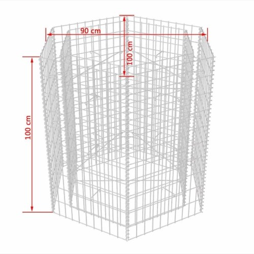 Шестиугольный габионный плантатор 100x90x100 см