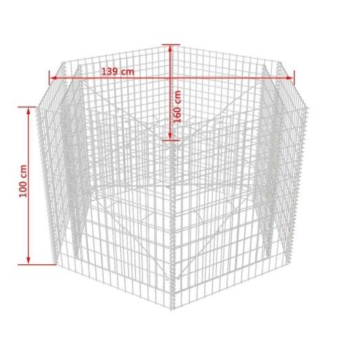 Шестиугольный габионный плантатор 160x139x100 см