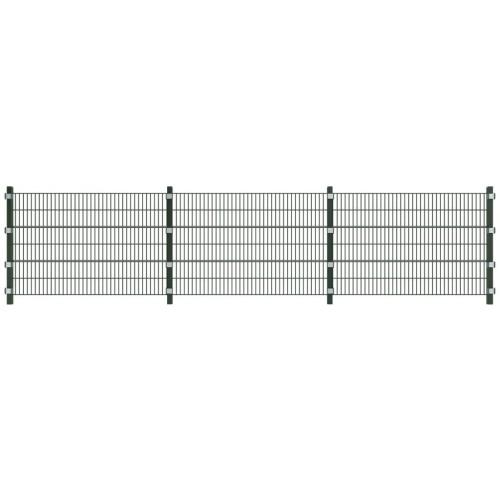 Pannello per recinzione con montanti in ferro verde 6x1,2 m
