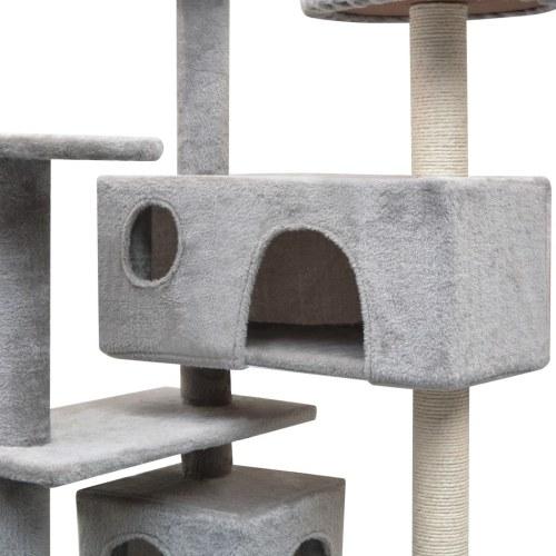 Дерево кошек с царапинами Сообщений 2 Дома 125 см Серые