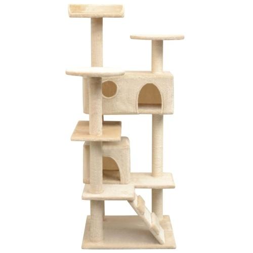 Дерево кошек с царапинами Сообщений 2 Дома 125 см Бежевый