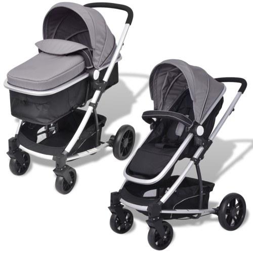 Коляска / Pram Baby 2-в-1 Алюминиевый серый и черный