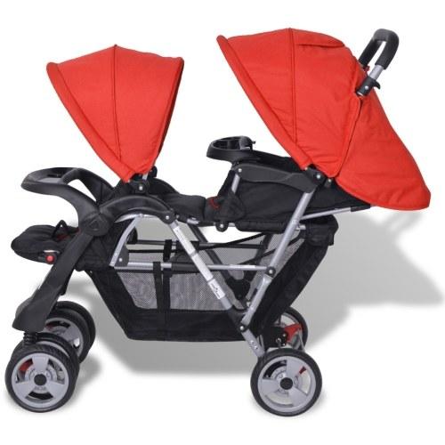 Двойная коляска Стальная красная и черная