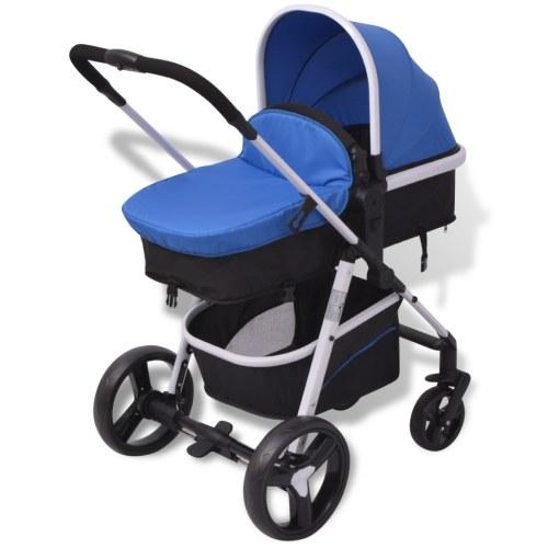 3-в-1 алюминиевая коляска Синяя и черная