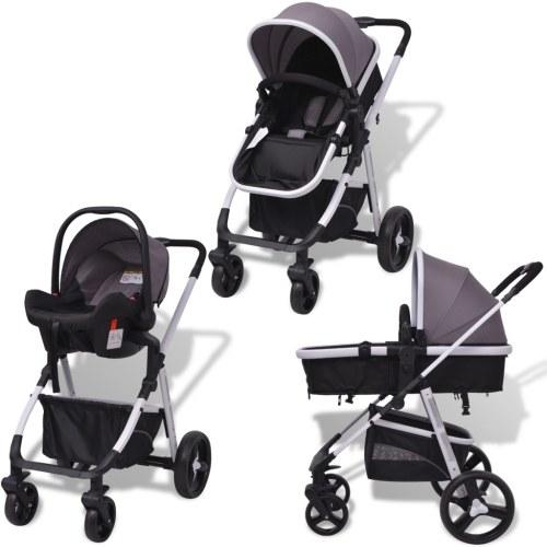 3-в-1 алюминиевая прогулочная коляска серая и черная