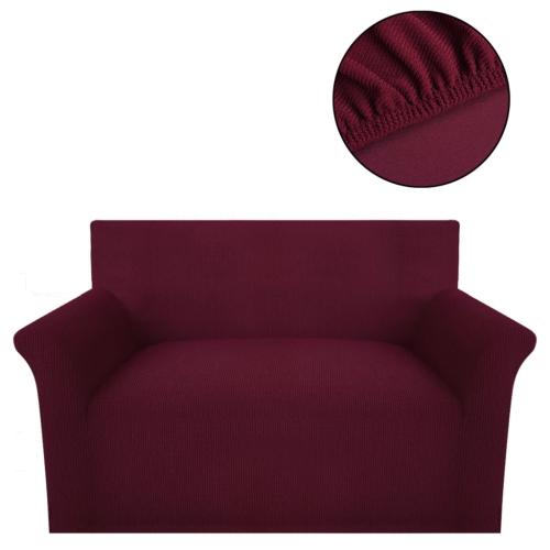 Sofabezug Stoff gestrickt Burgunder-Stretch-Polyester