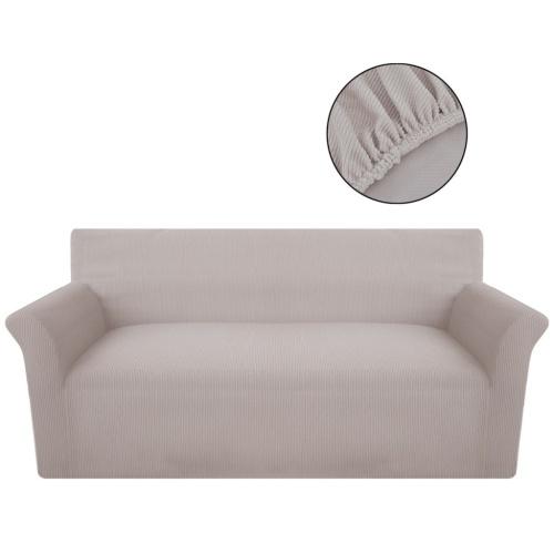 Sofabezug beige Strickware-Stretch-Polyester