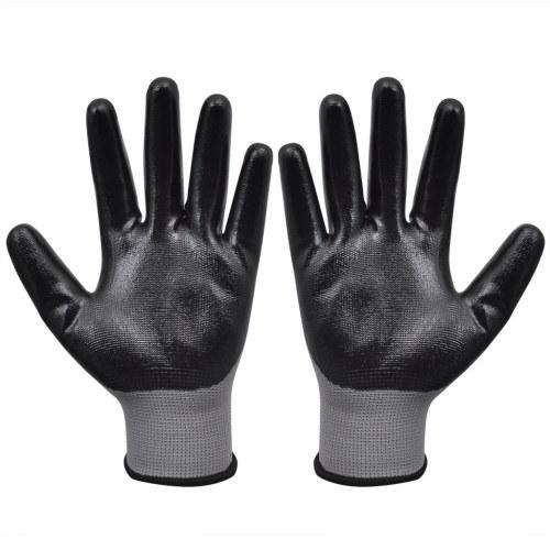 Arbeitshandschuhe aus Nitril 24 Paare und Schwarz Grau Größe 10 / XL