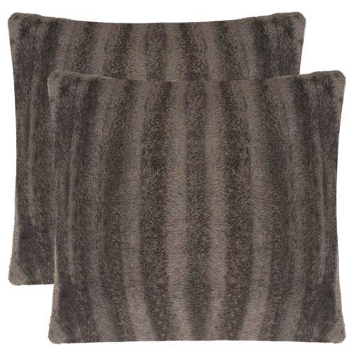Fodera per cuscino 2 pezzi Pelliccia sintetica 50 x 50 cm Grigio