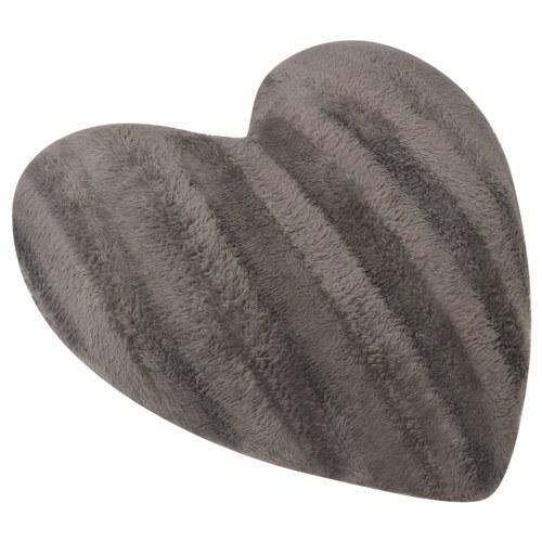 Cuscini a forma di cuore 2 pezzi in pelliccia sintetica grigio