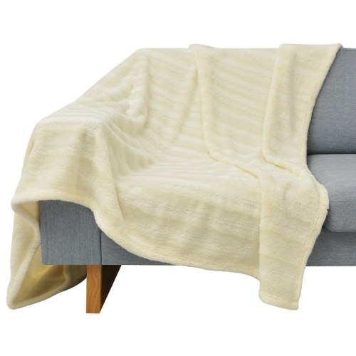 Blanket and Cushion Covers 3 pieces Faux Fur Cream
