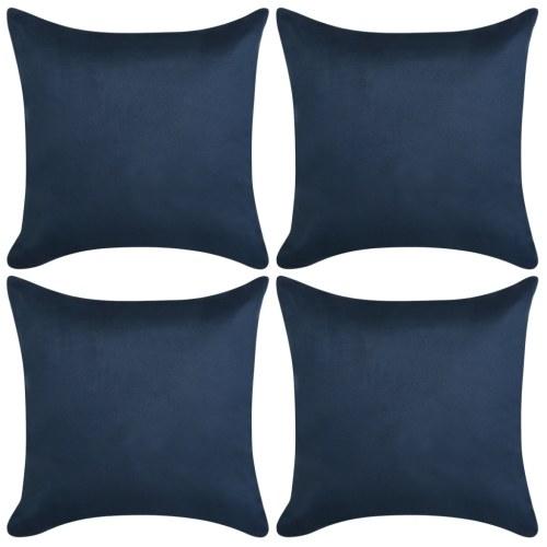 Fodera per cuscino 4 pezzi 80x80cm Poliestere Finta pelle scamosciata Blu navy
