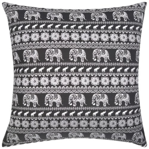 Pillow 2 pcs Canvas Elephant print Black 45 x 45 cm