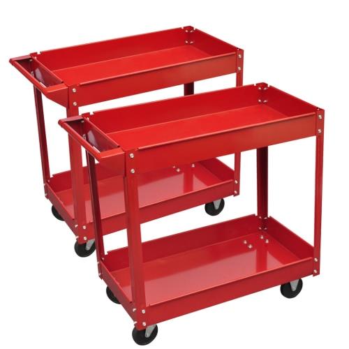 2 x Workshop Tool Trolley 220 lb 2 Shelves