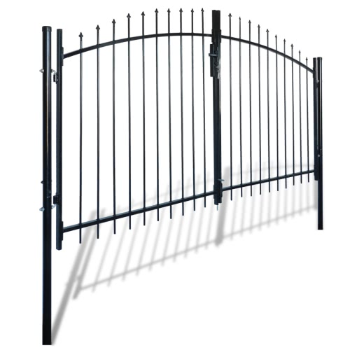 Double Door Fence Gate with Spear Top 300 x 175 cm