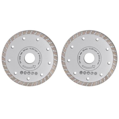 2 pièces lame de scie circulaire 125 mm diamanté turbo 1,9 mm