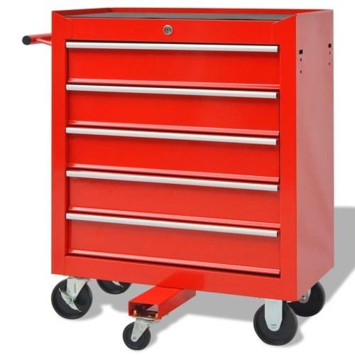 Carrello portautensili per officina con 269 utensili in acciaio rosso