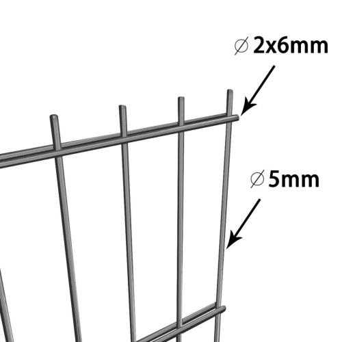 Panneau de clôture avec poteaux 6 x 0,8 m Anthracite