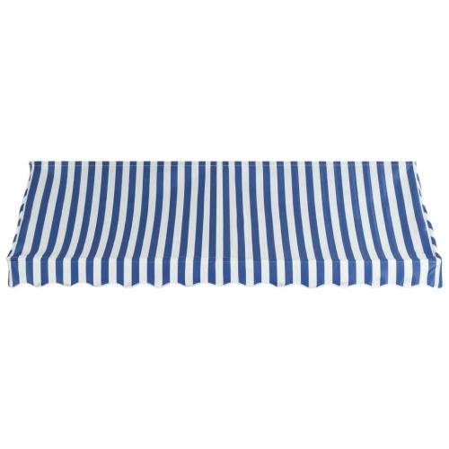 Store Banne Auvent de bistro 300x120 cm Bleu et blanc
