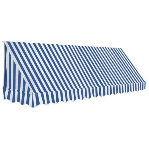 Store Banne Auvent de bistro 350x120 cm Bleu et blanc