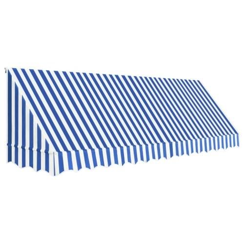 Store Banne Auvent de bistro 400x120 cm Bleu et blanc
