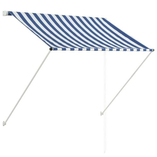 Store banne Auvent rétractable 150x150 cm Bleu et blanc