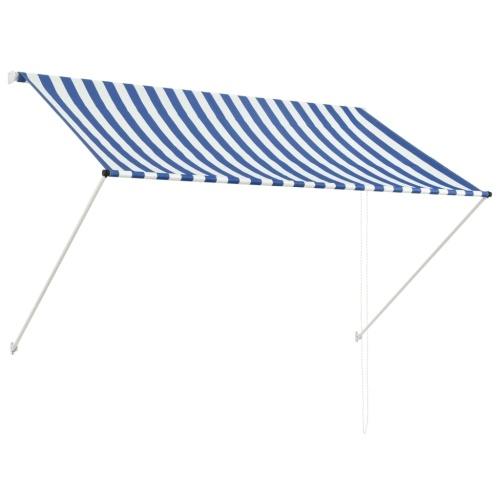 Store Banne Auvent rétractable 200x150 cm Bleu et blanc